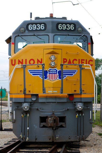Front of diesel Union Pacific train