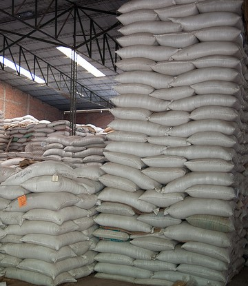 Coffee beans in bags in warehouse