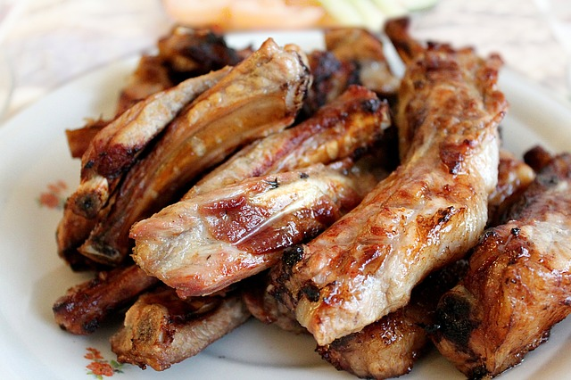 plate of cooked pork ribs