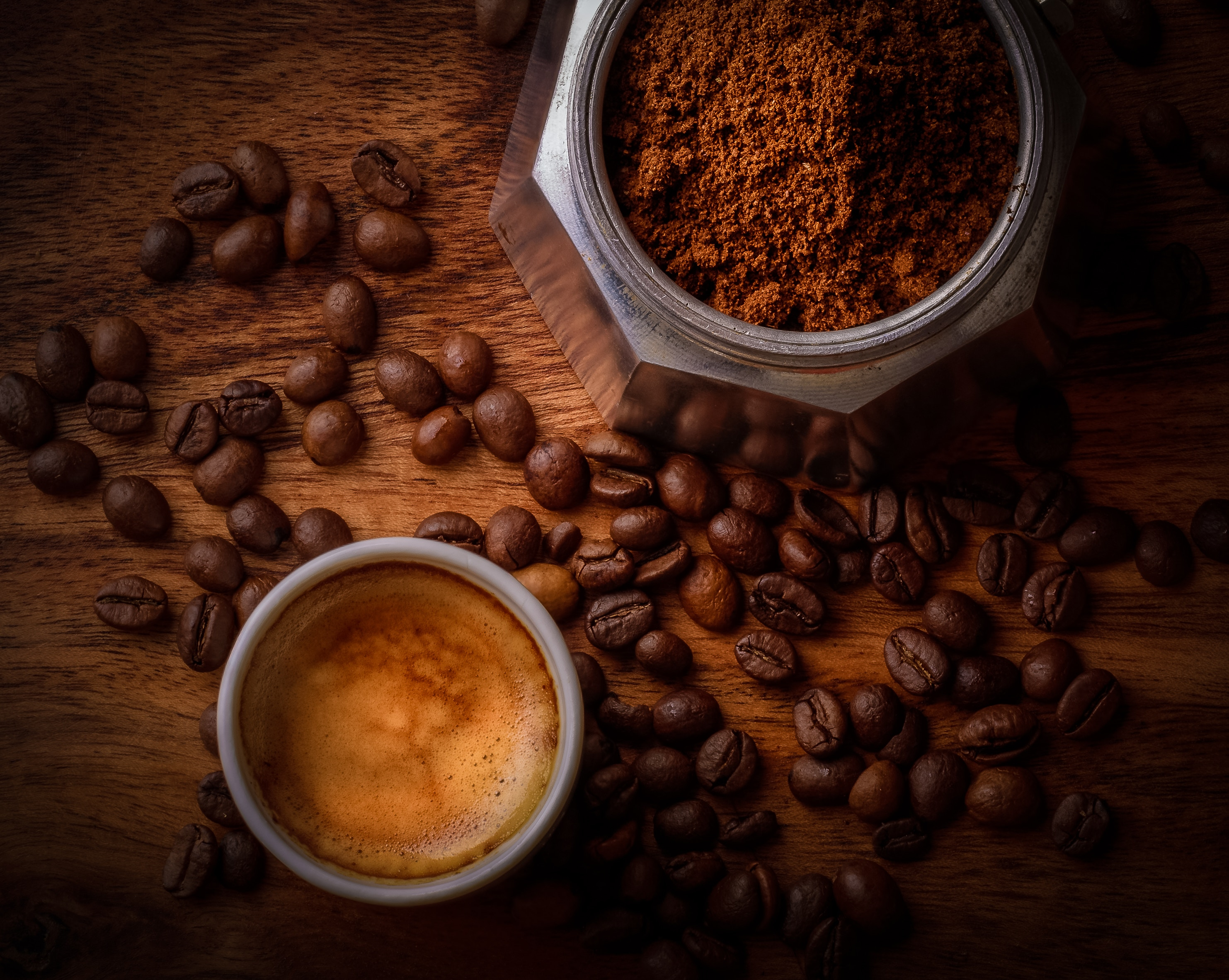 Coffee beans, ground coffee and brewed coffee