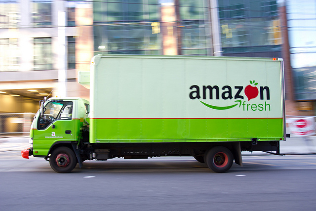 Amazon fresh truck on street