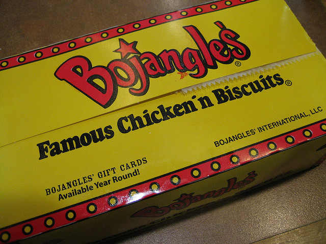 Yellow and Red Bojangles Chicken Box