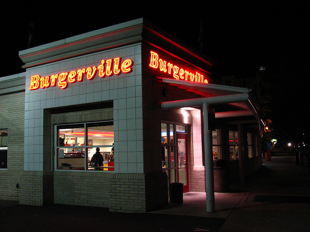 Image of Burgerville restaurant at night