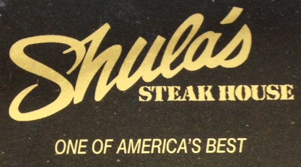 Black background with Shula's Steak House text and motto