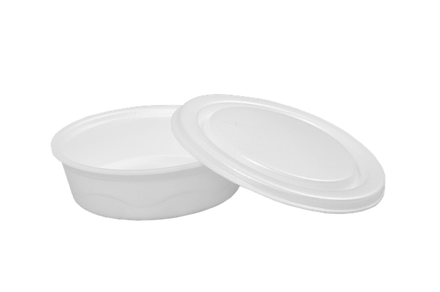 Round white foam food container with lid