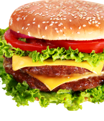 Supply Chain Scene, image of a double cheeseburger