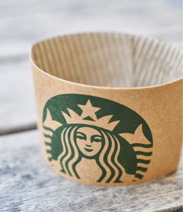 Supply Chain Scene, image of a starbucks paper sleeve