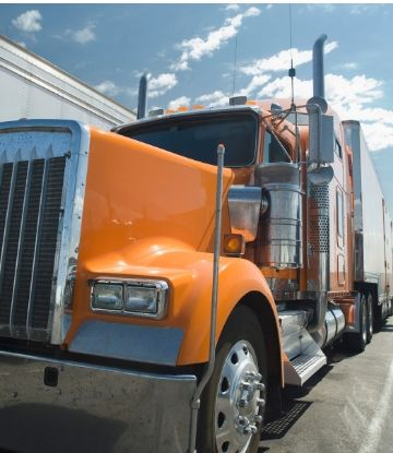 Supply Chain Scene, image of an 18-wheeler truck