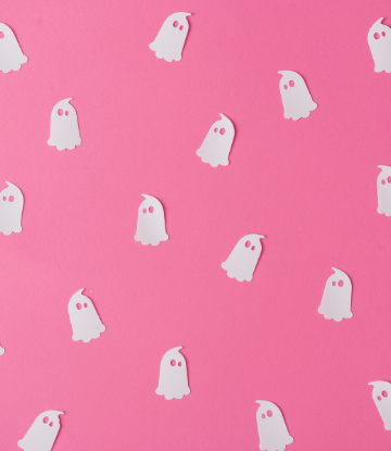 Supply Chain Scene, image of tiny white paper ghosts on a pink background