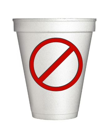 "Supply Chain Scene, image of a styrofoam cup with a red ""banned"" symbol on it"