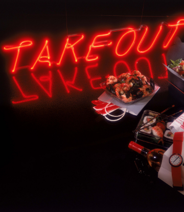 "Supply Chain Scene, picture of a neon ""Takeout"" sign with food"