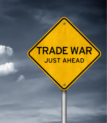 "Supply Chain Scene, picture of a yellow caution sign, ""Trade War Just Ahead"""