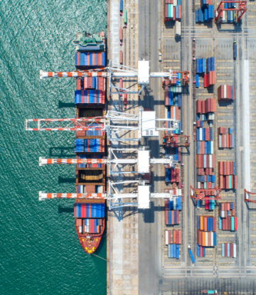 Supply Chain Scene, overhead image of a large ocean container ship