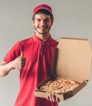 "Supply Chain Scene, image of a pizza delivery guy holding a pizza box and giving a ""thumbs up""."