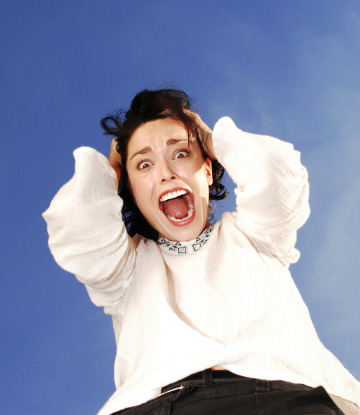 Supply Chain Scene, image of crazed, excited woman