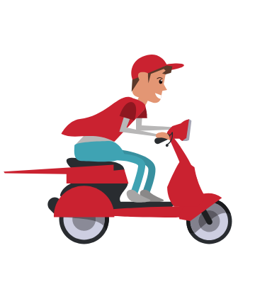 SCS, animated graphic of man on red scooter